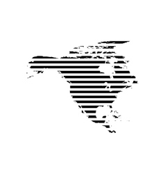 Black linear symbol of north America map on white vector image