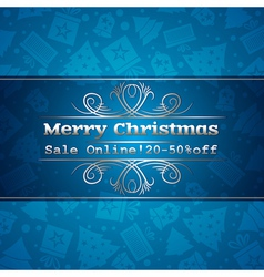 Blue christmas background and sale offer vector