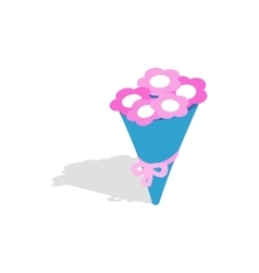 Bouquet of pink flowers icon isometric 3d style vector image