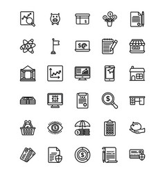 Bundle of startup and new business line ic vector