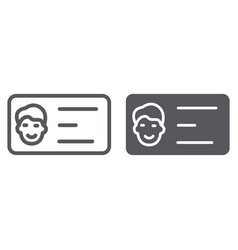 Business card line and glyph icon contact and vector