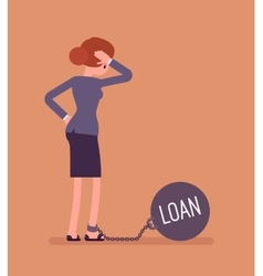 Businesswoman chained with a weight Loan vector