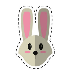 cartoon cute easter face bunny vector image