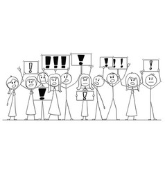 cartoon drawing of group of people protesting vector image