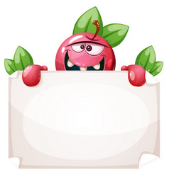 cartoon funny apple with paper banner vector image