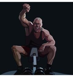 cartoon happy man sitting on sports equipment vector image