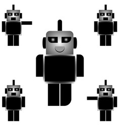 collection of black and white cartoon robots on a vector image