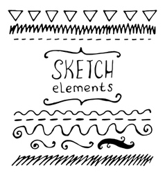 Collection of hand drawn sketched elements vector image