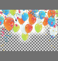 colorful balloons happy birthday holiday frame vector image