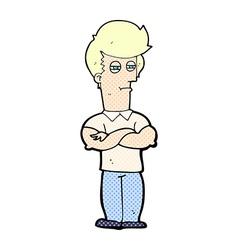 comic cartoon man with folded arms vector image
