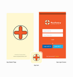 Company medical splash screen and login page vector