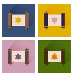 Concept of flat icons with long shadow Torah vector