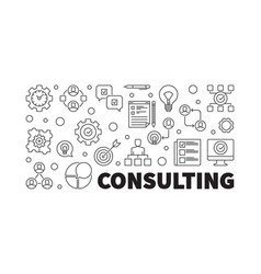 consulting banner or in thin vector image