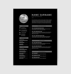 cool black cv resume template design vector image