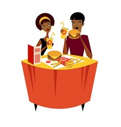 Couple sitting at a table vector