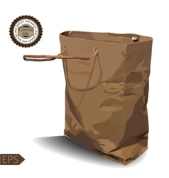 Craft Paper Shopping Bag on a white background vector