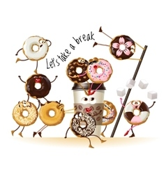 Design a poster with cartoon characters donuts vector image