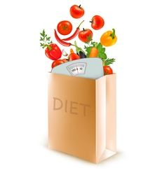 Diet paper bag with a scale and vegetables Concept vector