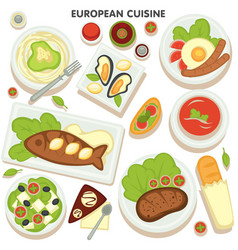 european cuisine collection dishes and vector image