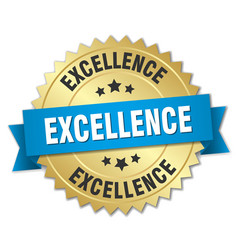 Excellence 3d gold badge with blue ribbon vector