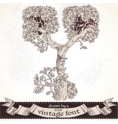 Fable forest hand drawn by a vintage font - Y vector image