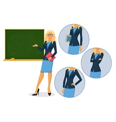 Female teacher with blackboard vector