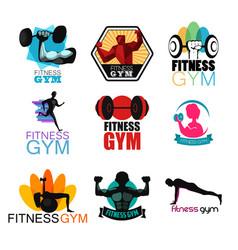 Fitness gym logos vector