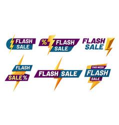 flash sale badges lightning bolt offer flashes vector image