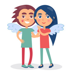 Flirting couple smiling hold hands boy and girl vector