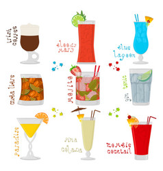 For sweet alcohol cocktail in glass vector
