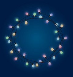 garland round frame from glowing bulb decorative vector image