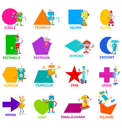 Geometric shapes with robot characters set vector
