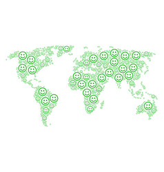 Global map collage of glad smiley icons vector