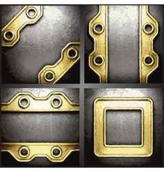 gold and silver background set vector image