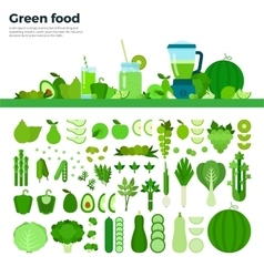 Green healthy food on the table vector