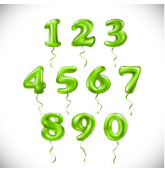 Green number 1 2 3 4 5 6 7 8 9 0 metallic balloon vector