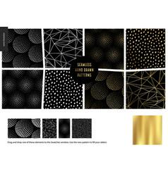 Hand drawn patterns - black vector