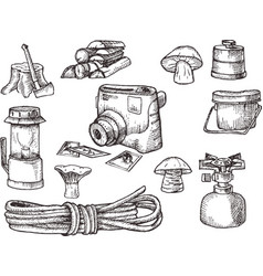 Hand drown kit set of hiking camping equipment vector