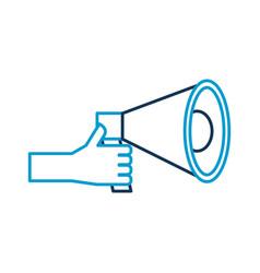 hand holding megaphone advertising work volume vector image