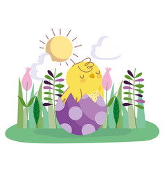 Happy easter chicken in eggshell flowers grass vector