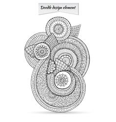 Henna Paisley Doodle Floral Design Element vector image