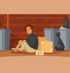 Homeless people cartoon composition vector