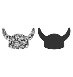 horned helmet collage of binary digits vector image