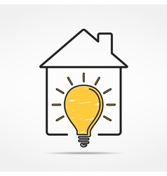 House with Light Bulb vector image