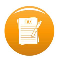 Income declaration icon orange vector