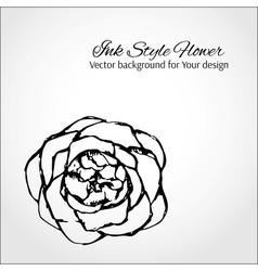 Ink style flower Elegant card for Your design vector image