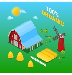 Isometric Farm Building with Organic Plant vector