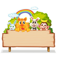 Many animal on woodenboard vector