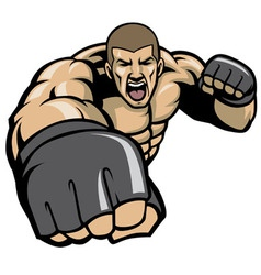 Mma fighter throw a punch vector