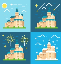 Mont Saint Michel flat design vector